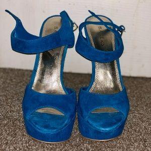 Baker's 5inch velvet turquoise heels. Gently used.